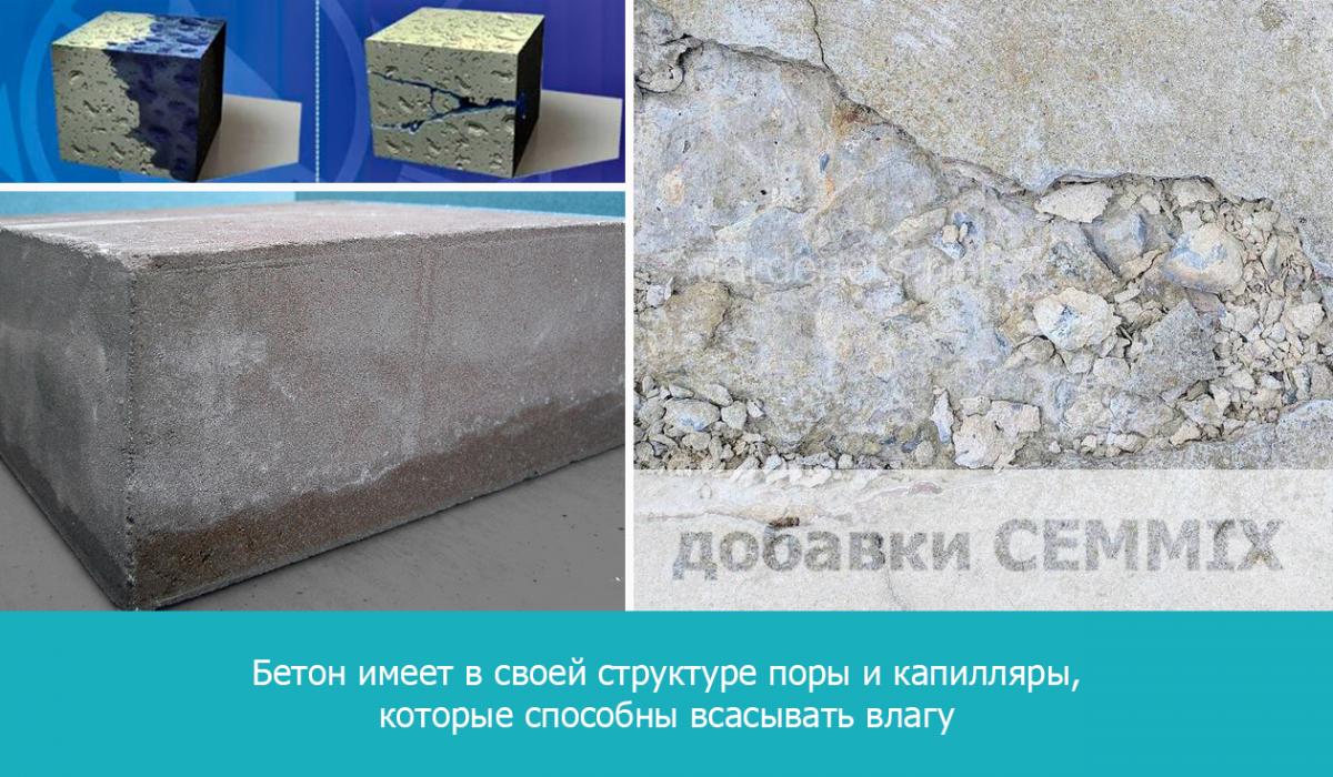 бетон, хотя и плотный материал, но имеет в своей структуре поры и капилляры, которые способны всасывать влагу