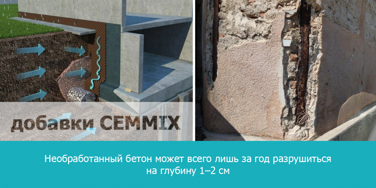 Необработанный бетон может всего лишь за год разрушиться на глубину 1–2 см