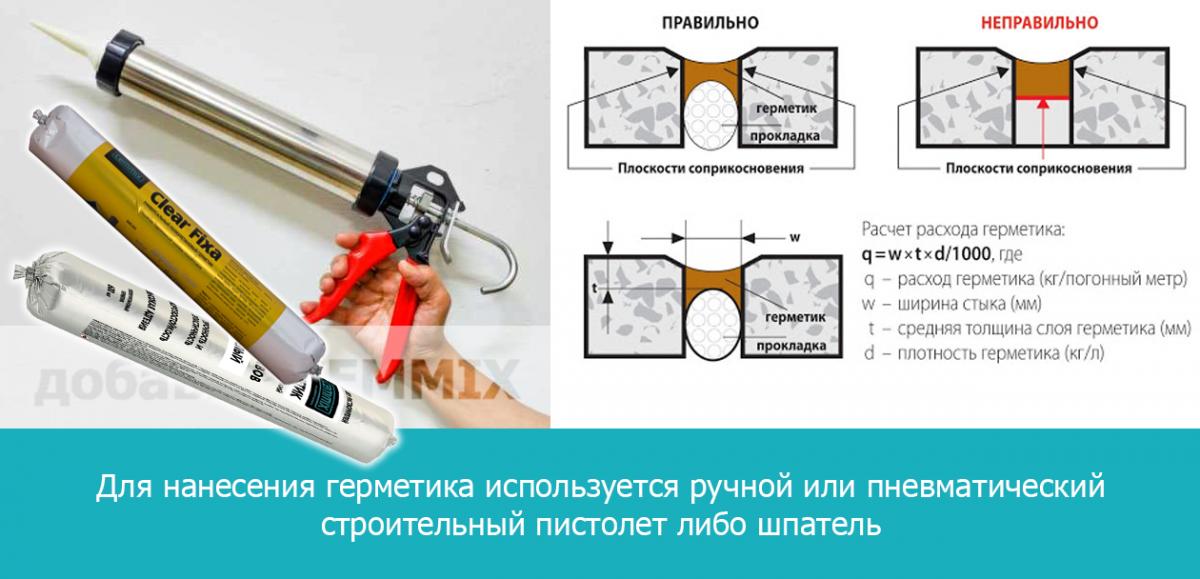 Для нанесения герметика используется ручной или пневматический строительный пистолет либо шпатель