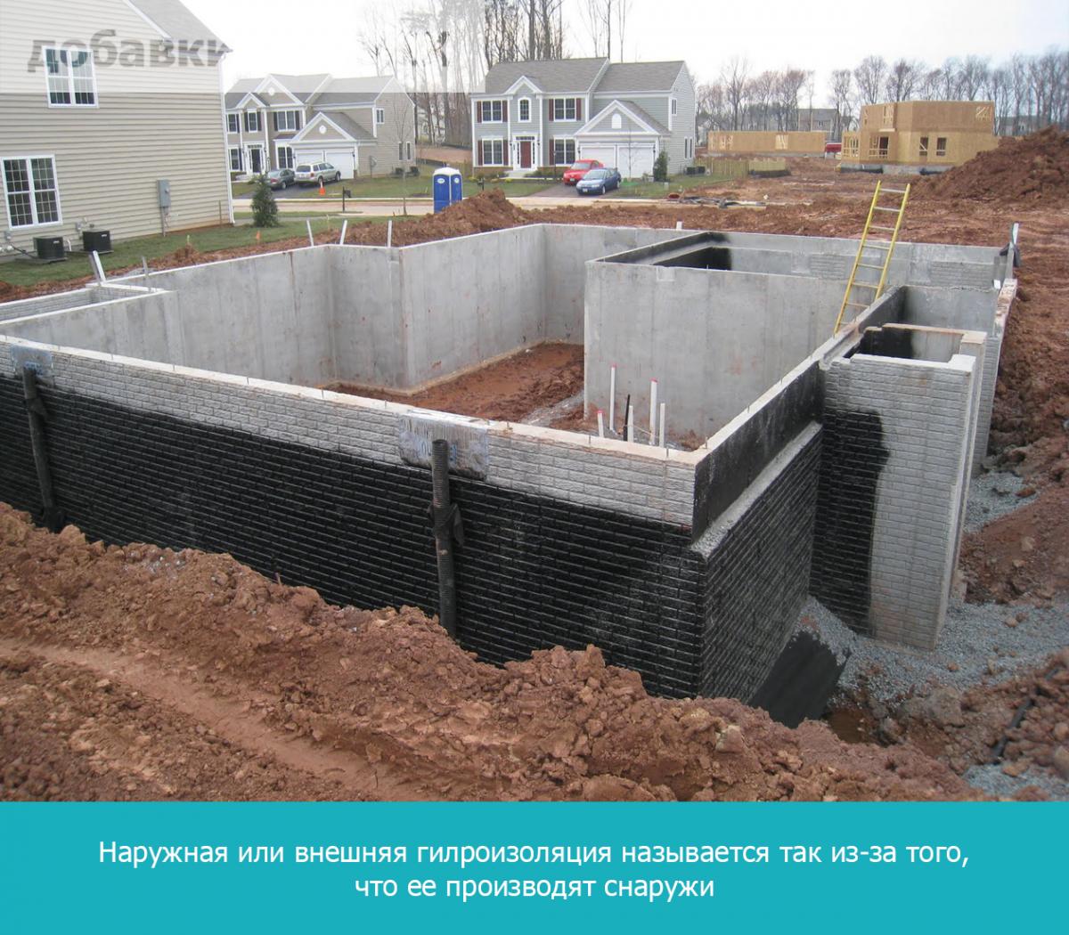 Наружная или внешняя гидроизоляция называется так из-за того, что ее производят снаружи