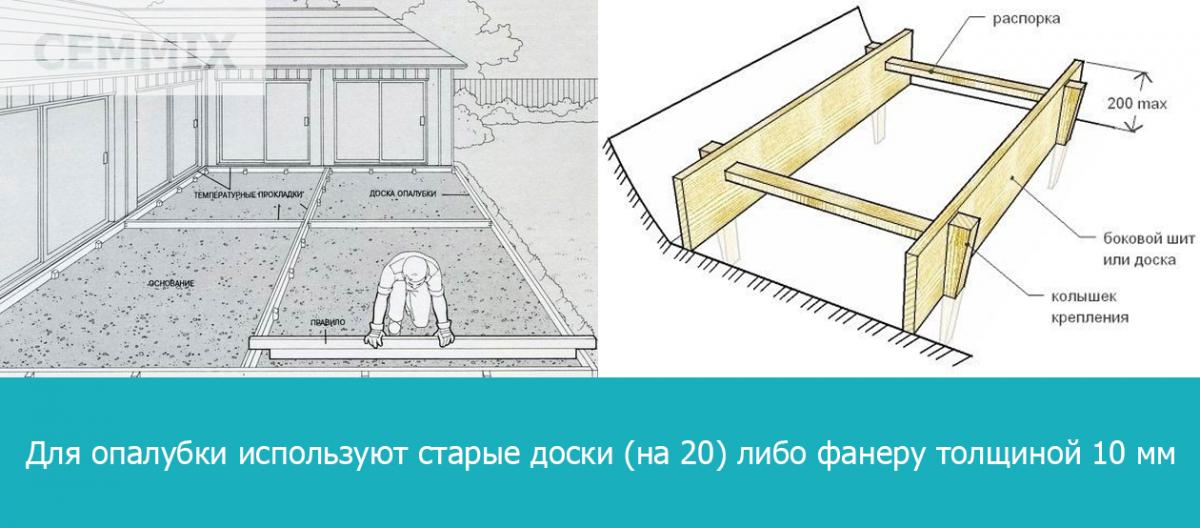 Для опалубки используют старые доски (на 20) либо фанеру толщиной 10 мм