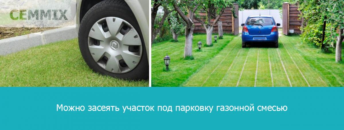 Можно просто засеять участок под парковку газонной смесью