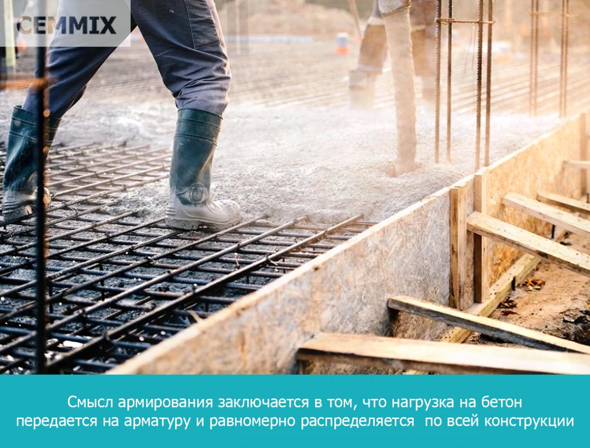 Смысл армирования заключается в том, что нагрузка на бетон передается на арматуру и равномерно распределяется  по всей конструкции