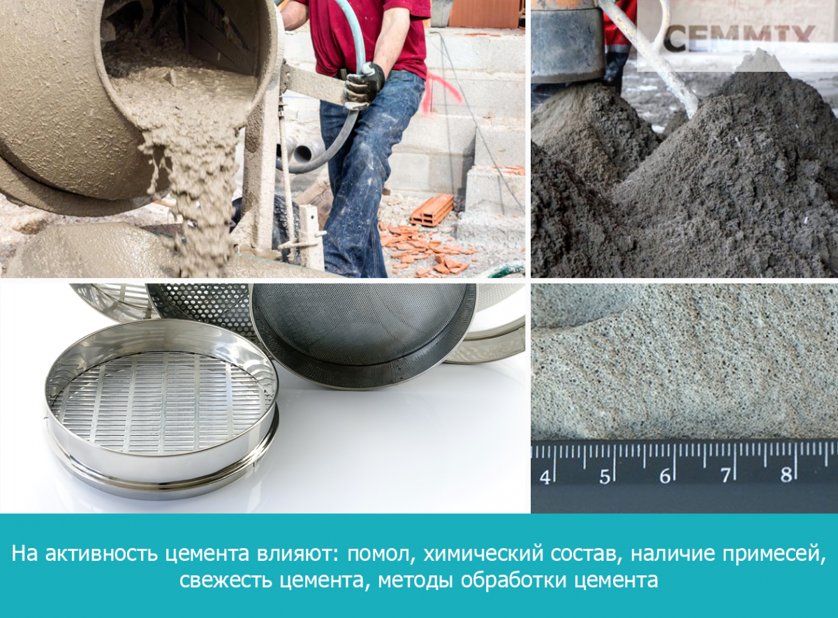 На активность цемента влияют: помол, химический состав, наличие примесей, свежесть цемента, методы обработки цемента