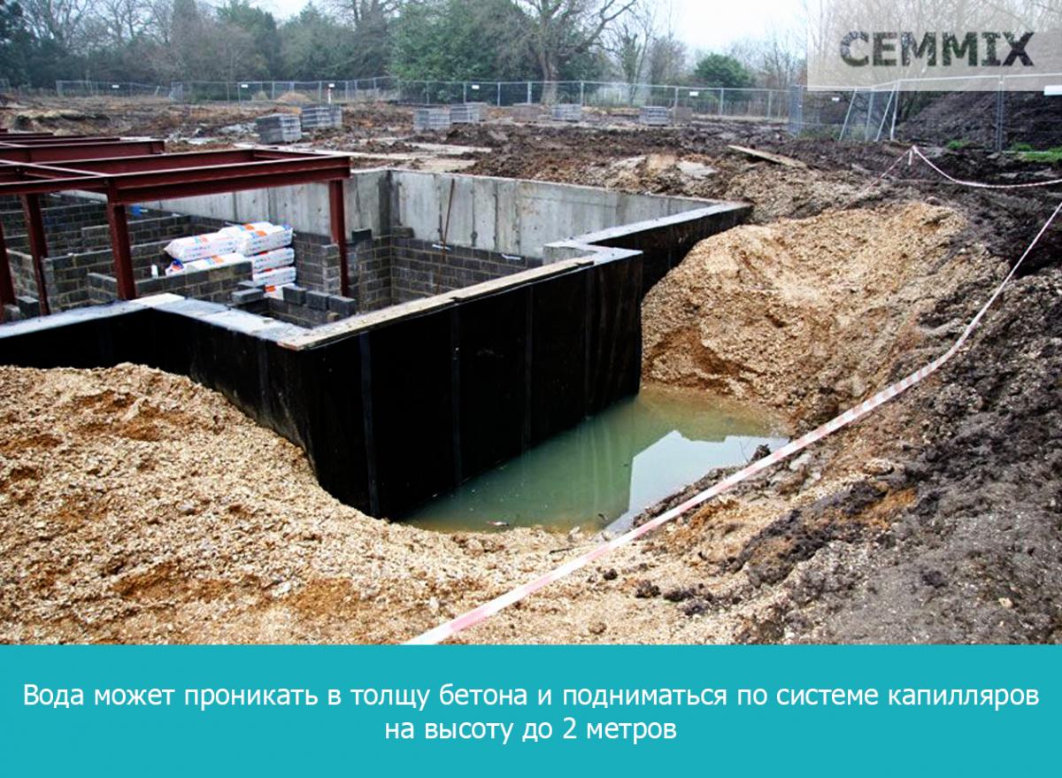 вода может проникать в толщу бетона и подниматься по системе капилляров на высоту до 2 метров
