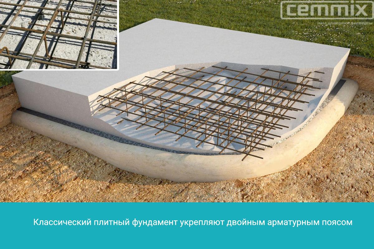 Плитный фундамент укрепляют двойным арматурным поясом