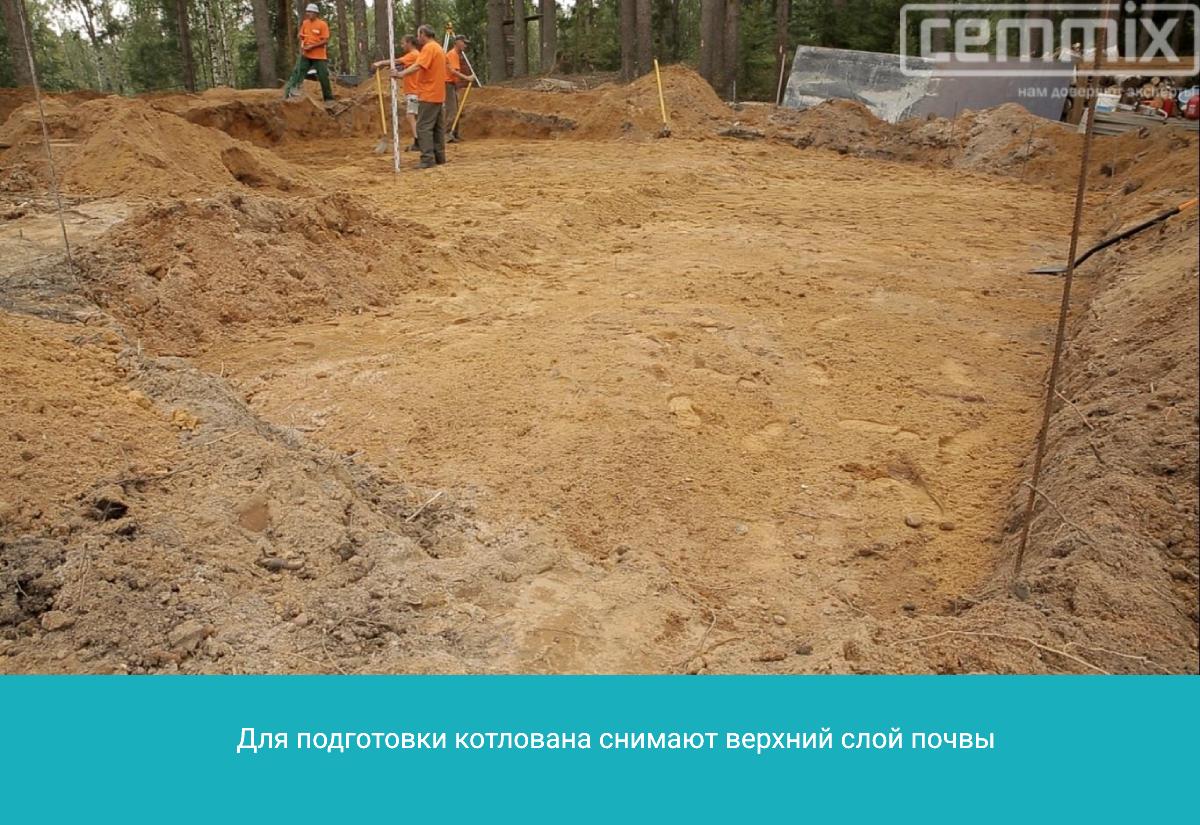 Сняв верхний слой почвы, получают необходимый по глубине котлован