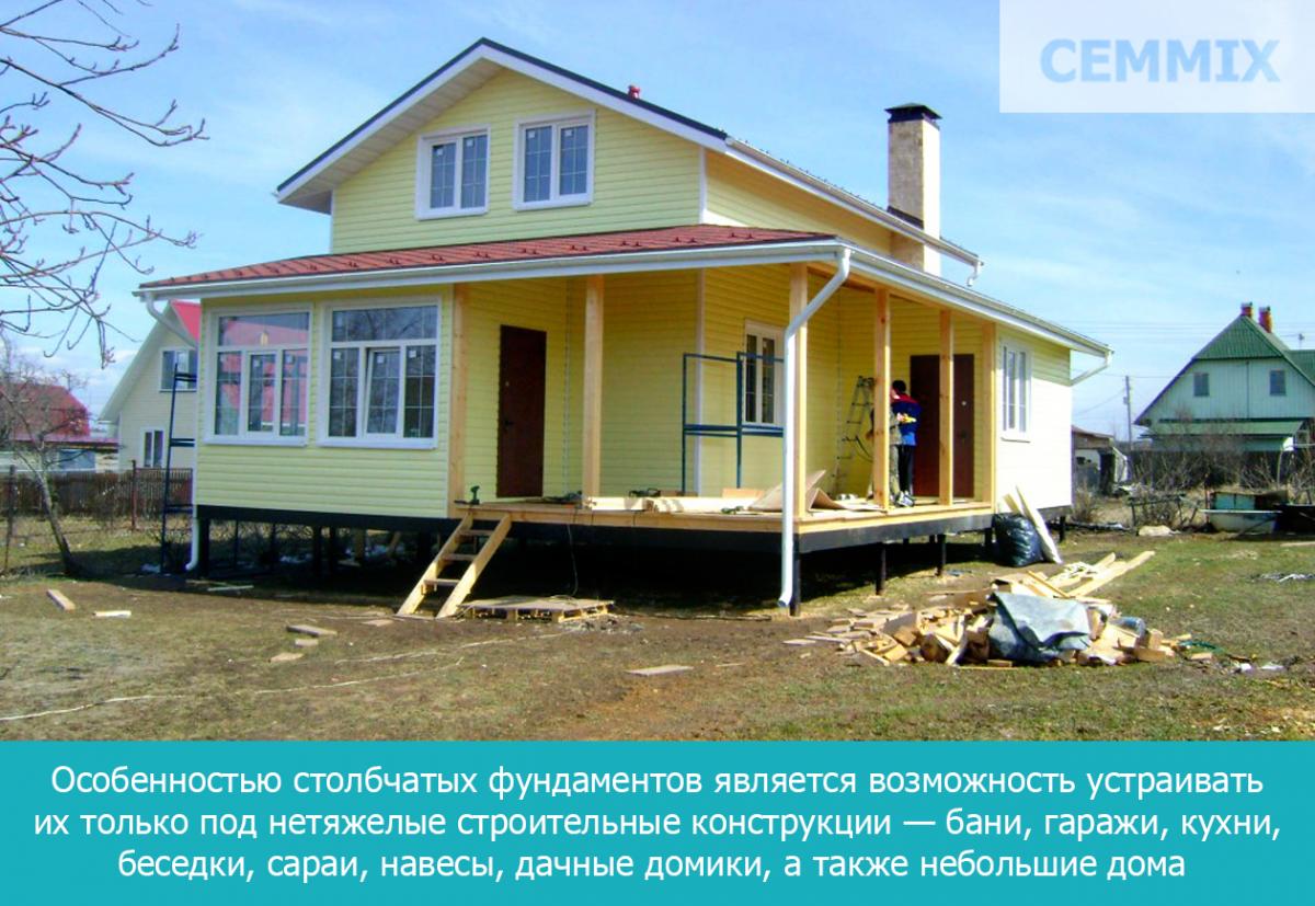 Особенностью столбчатых фундаментов является возможность устраивать их только под нетяжелые строительные конструкции