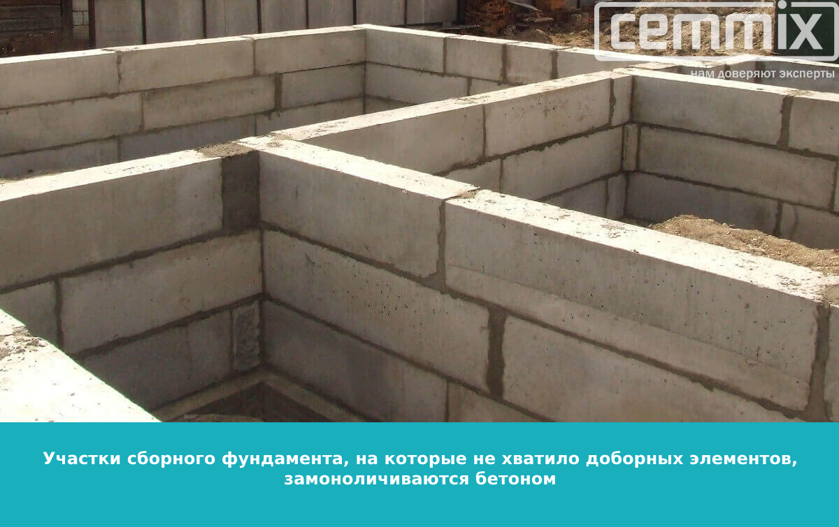 Сборный фундамент на нужных участках домоноличиваеся бетоном