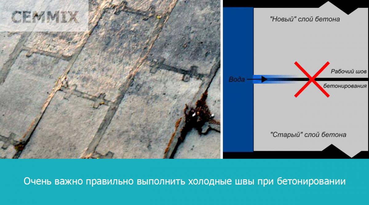 Oчень важно правильно выполнить холодные швы при бетонировании
