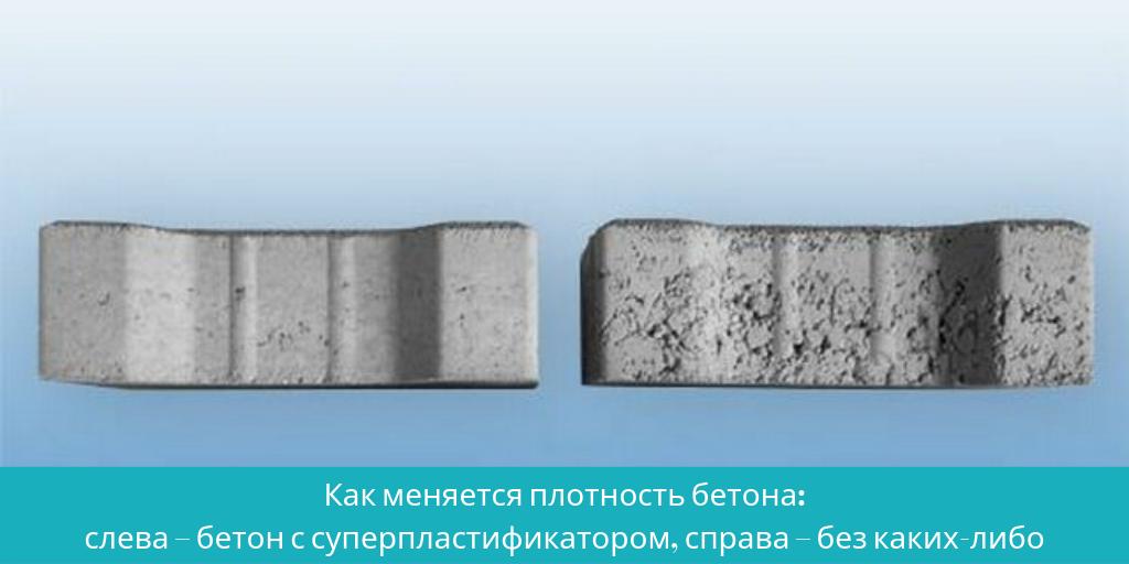 Как меняется плотность бетона: слева - бетон с суперпластификатором, справа - без добавок