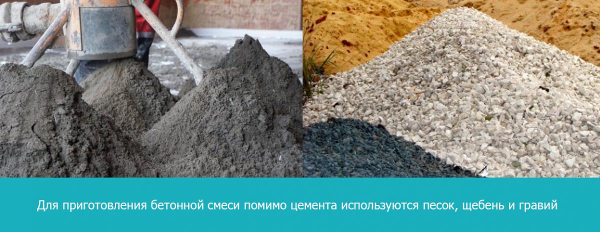 При изготовлении бетонной смеси помимо цемента используются песок, щебень и гравий