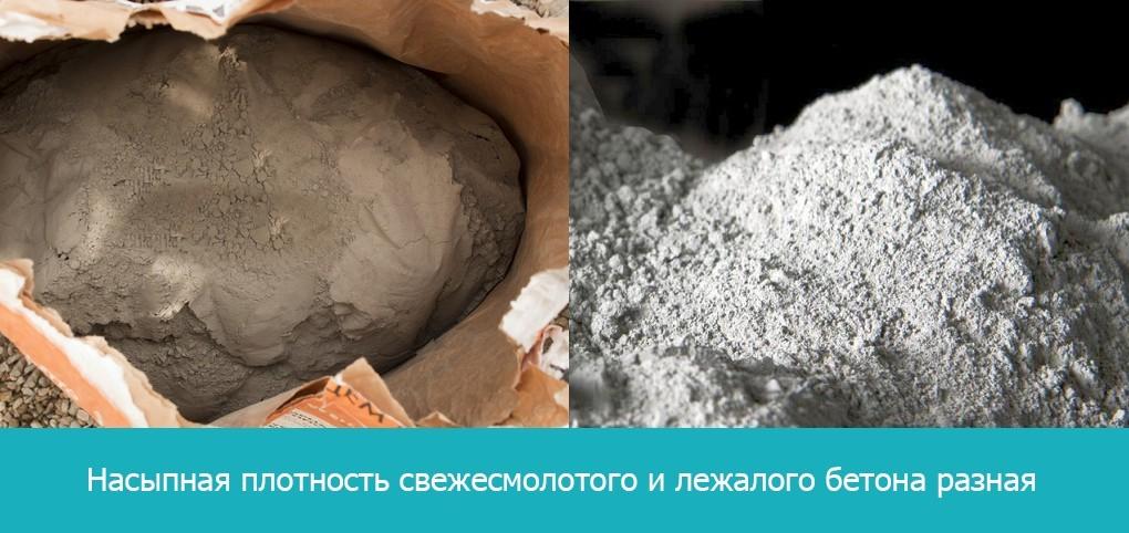 НАсыпная плотность свежемолотого и лежалого бетона разная