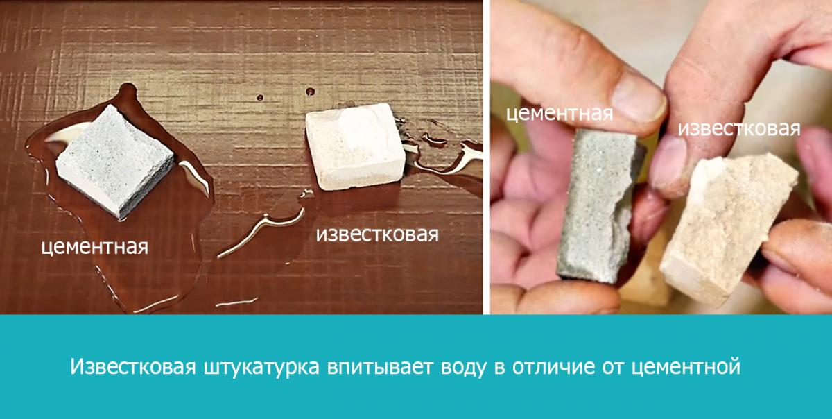 Известковая штукатурка впитывает воду в отличие от цементной