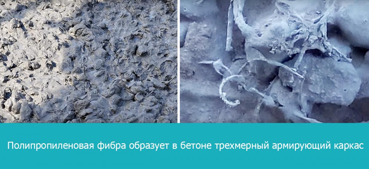 Полипропиленовая фибра образует в бетоне трехмерный армирующий каркас