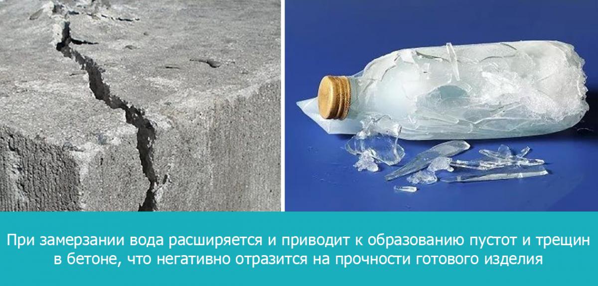 При замерзании вода расширяется и приводит к образованию пустот и трещик в бетоне, что негативно отразится на прочности готового изделия