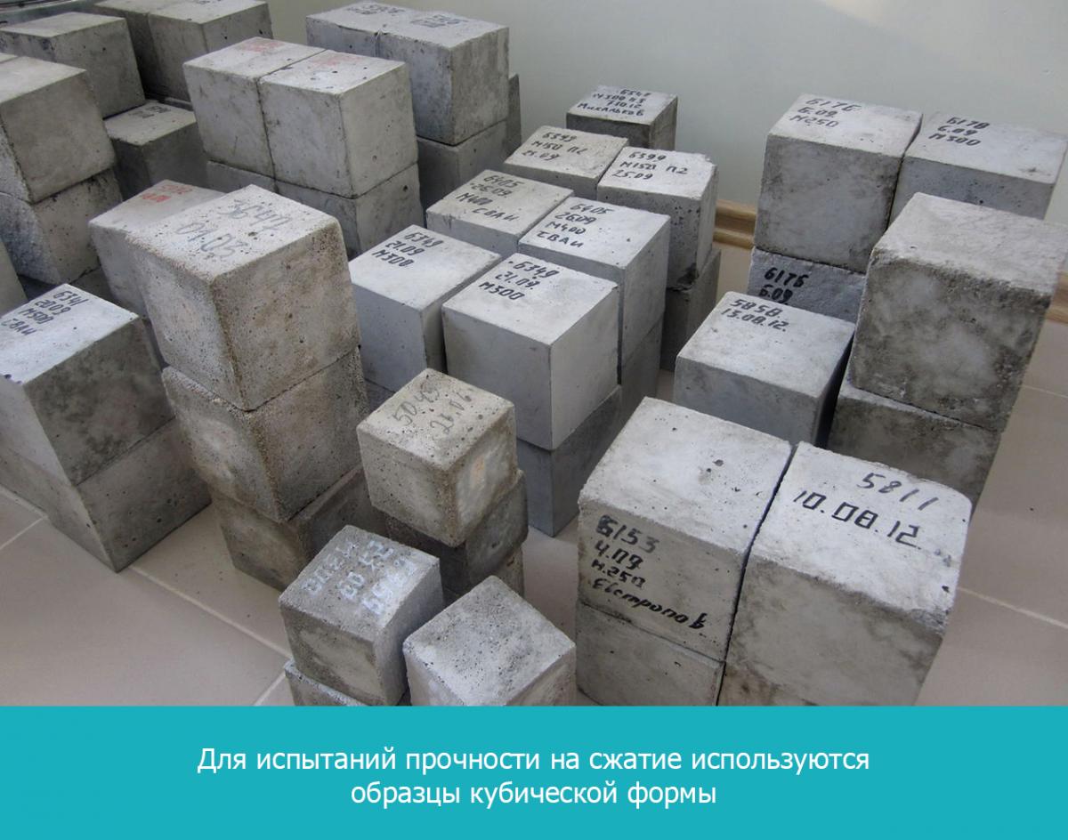 Для испытаний прочности на сжатие используются образцы кубической формы