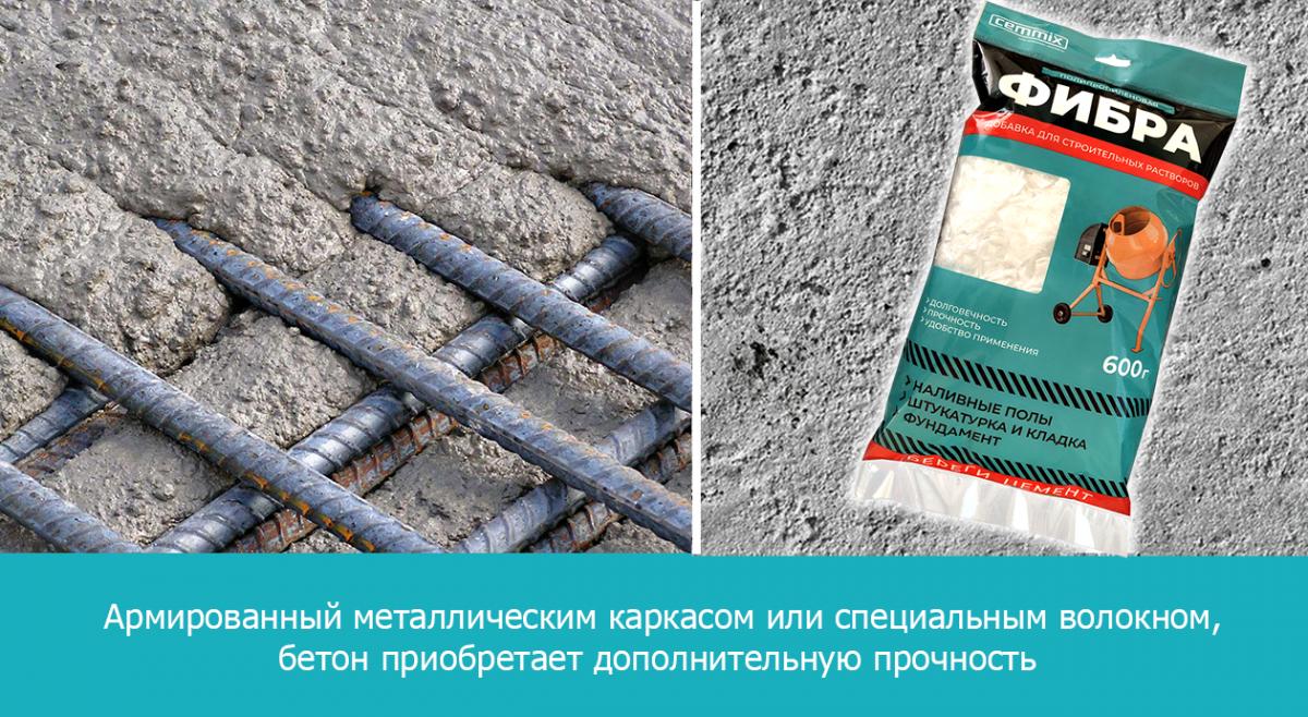 Армированный металлическим каркасом или специальным волокном бетон приобретает дополнительную прочность