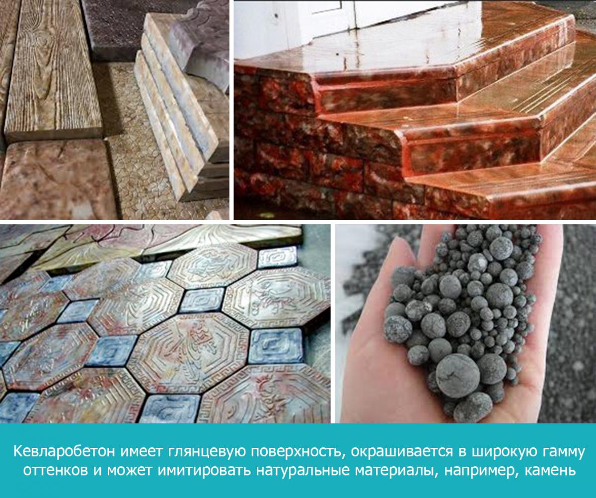 Кевларобетон имеет глянцевую поверхность, окрашивается в широкую гамму оттенков и может имитировать натуральные материалы, например, камень
