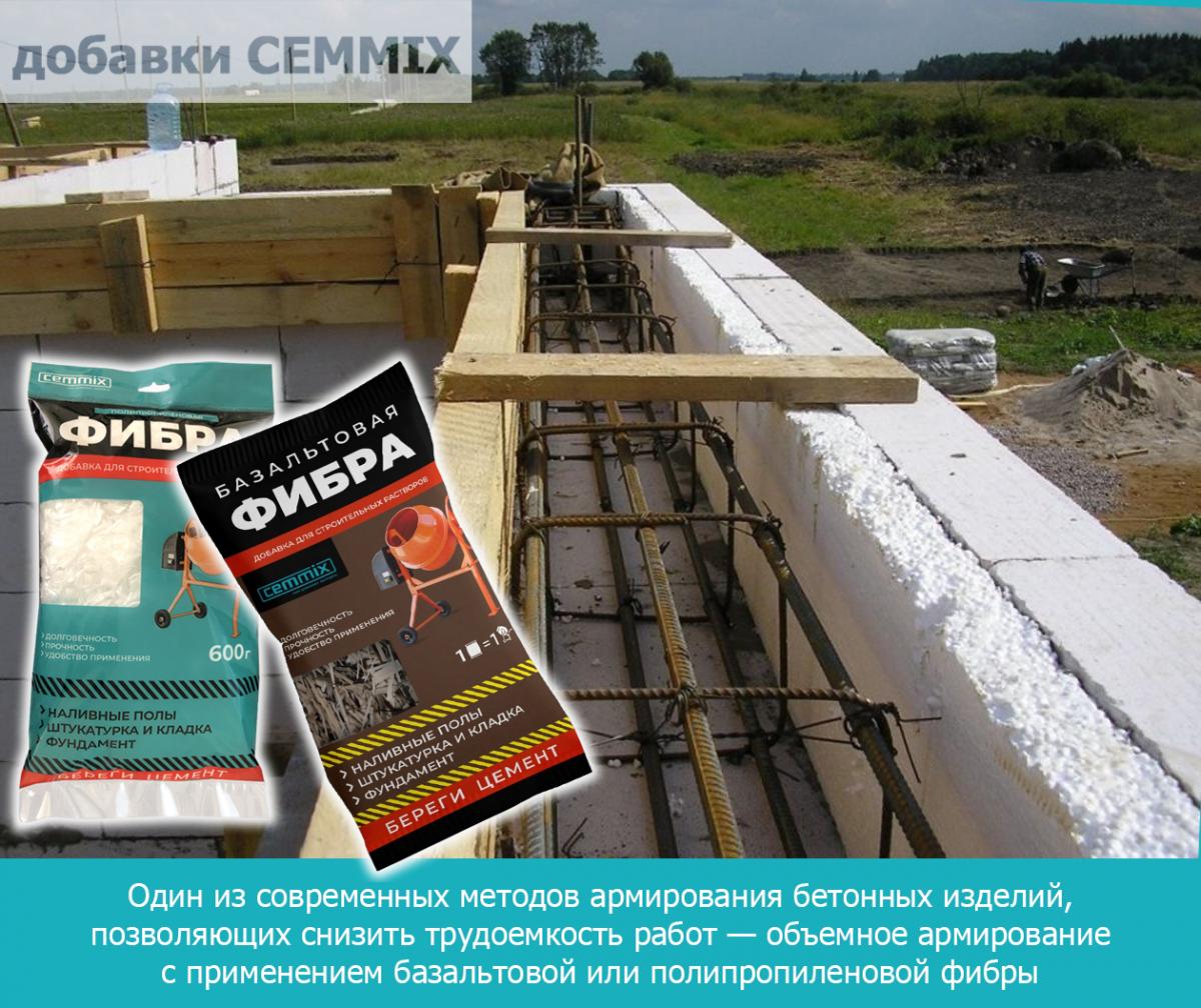 Один из современных методов армирования бетонных изделий — объемное армирование с применением базальтовой или полипропиленовой фибры